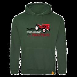 Sweat Dans mon coeur y'a un tracteur